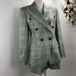 ESCADA wool short blazer suit aqua navy 36 EUC 4/6